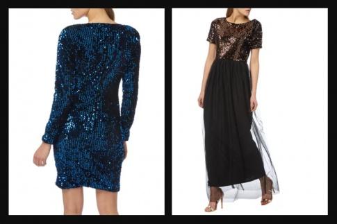 Abendkleider in den klassischen Farben Dunkelblau und Schwarz werden von Models getragen