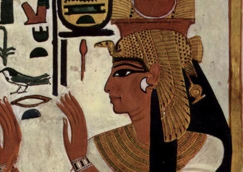 Man sieht das Augen-Make-up eines Ägypters