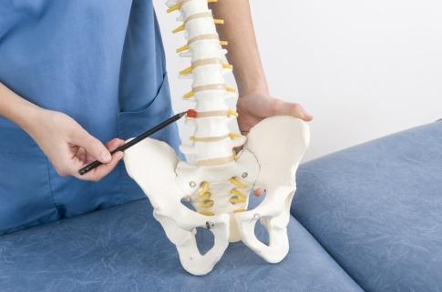 Ein Arzt demonstriert anhand einer künstlichen Wirbelsäule einen Bandscheibenvorfall