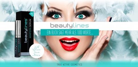 Beautylines Wimpernserum steht vor einer Frau mit schönen Wimpern