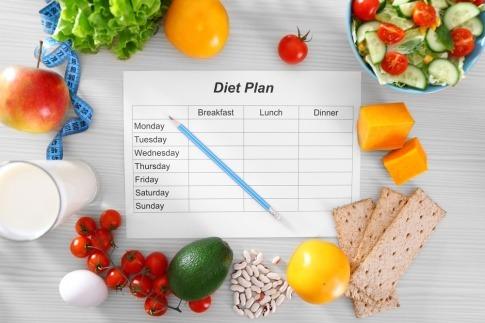 Diätplan und Gemüse