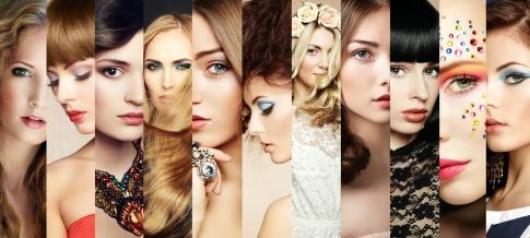 Eine Collage von verschiedenen Damen Frisuren