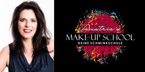 Gabriela Hajek-Renner ist neben dem Logo der Austria's Make-up School