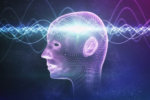 Eine Illustration des menschlichen Bewusstseins als wellenförmige Energie in einem Männerkopf.