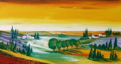 Ein Gemälde aus Glas zeigt eine Landschaft.