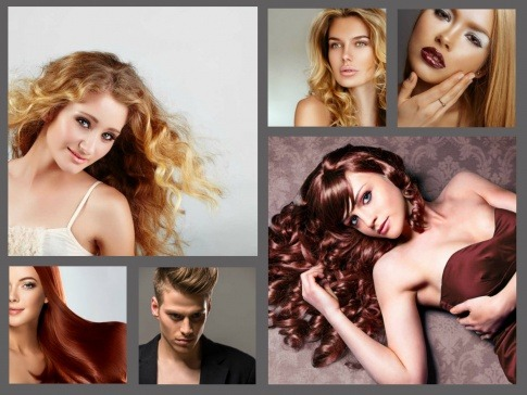 Auf einer Collage sind Haare mit warmen Blondtönen und Brauntönen zu sehen