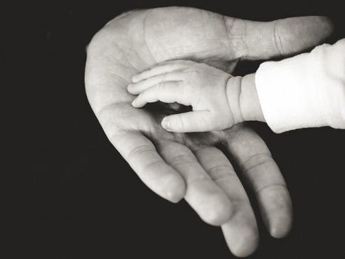 Eine Kinderhand liegt auf einer Erwachsenenhand