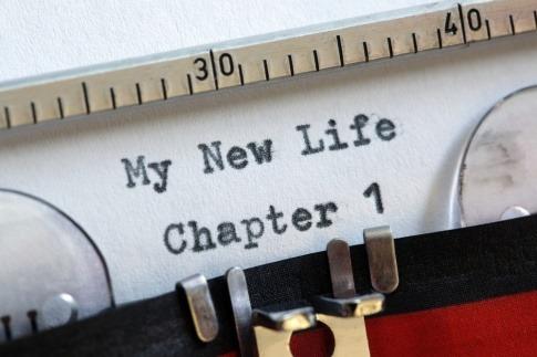 Alte Schreibmaschine mit Text: My new life