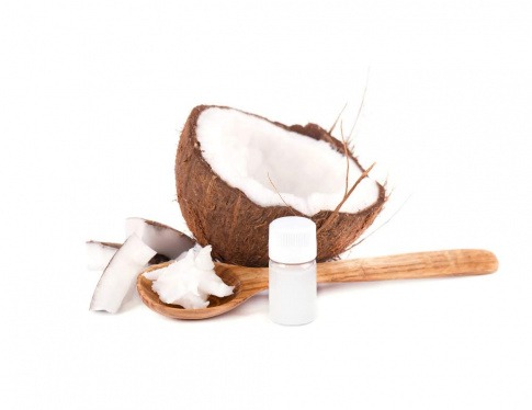 Kokosöl, aufgeschnittene Kokosnuss