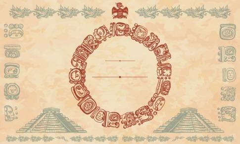 Grafische Darstellung von Maya-Symbolen und Bauten
