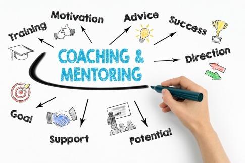 Auf ein Schild werden Schlagworte für Coaching und Mentoring geschrieben