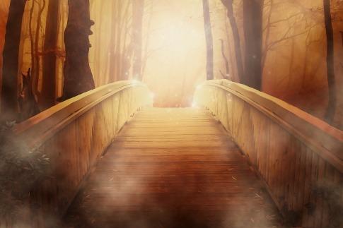 Eine sonnenerleuchtete Brücke hilft, neue Wege zu gehen