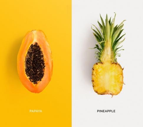 Papaya (mit Enzym Papain) und Ananas (mit Bromelian)