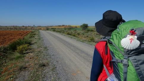 Ein Pilgerer ist am Jakobsweg unterwegs