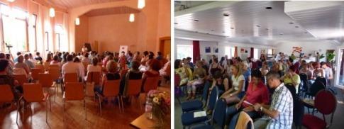 Teilnehmer sind bei einem Seminar bei Stefanie Menzel