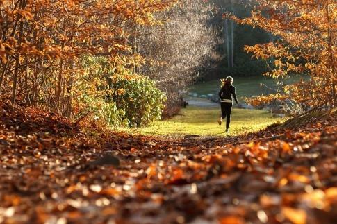 Eine Frau treibt Sport im Herbst