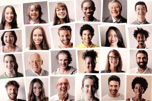 Viele verschiedene Gesichter sind auf einer Collage