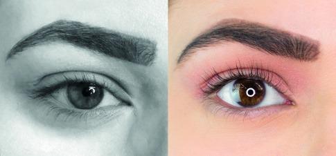 Wimpern vorher und nachdem Wimpernlifting