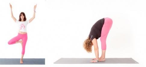 Yoga Übungen Baum (Vrksasana) und Uttanasana-Vorbeuge