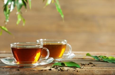 Zwei Tassen mit Tee stehen unter herabhängenden Blättern