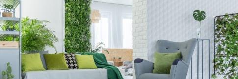 Ein Zimmer ist in Möbeln mit Grüntönen eingerichtet