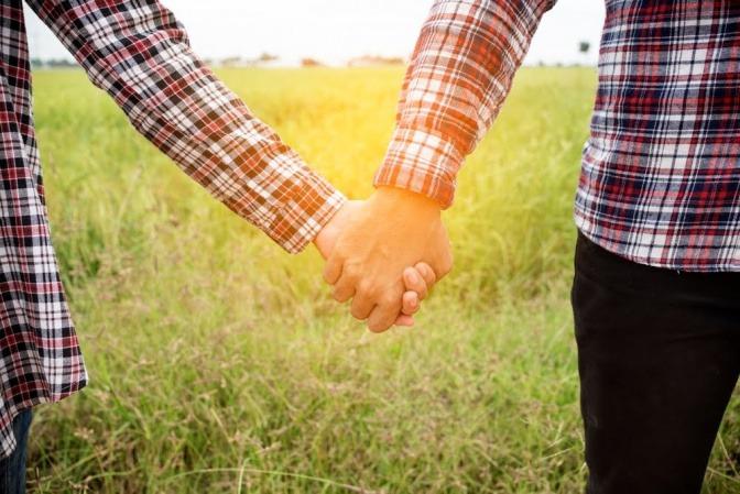 Wir sehen die Unterarme eines Paars, das händchenhaltend über eine Wiese spazieren geht.