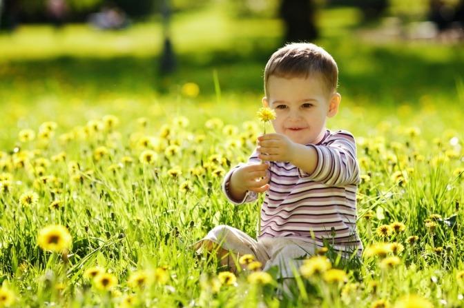 Ein Bub sitzt im Gras
