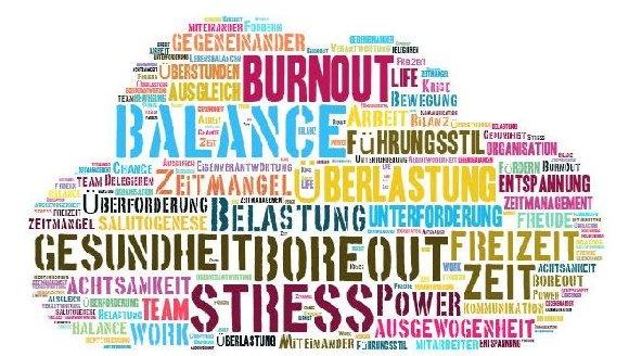 Die Wörter Stress, Burnout, Überlastung, Balance, etc. sind übereinander geschrieben