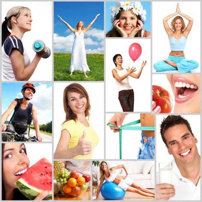 Eine Collage mit gesunden Lebenmitteln und fitten und glücklichen Menschen