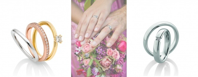 Eine Collage zeigt Eheringe, Verlobungsringe, zusammen tragen Sie Hände
