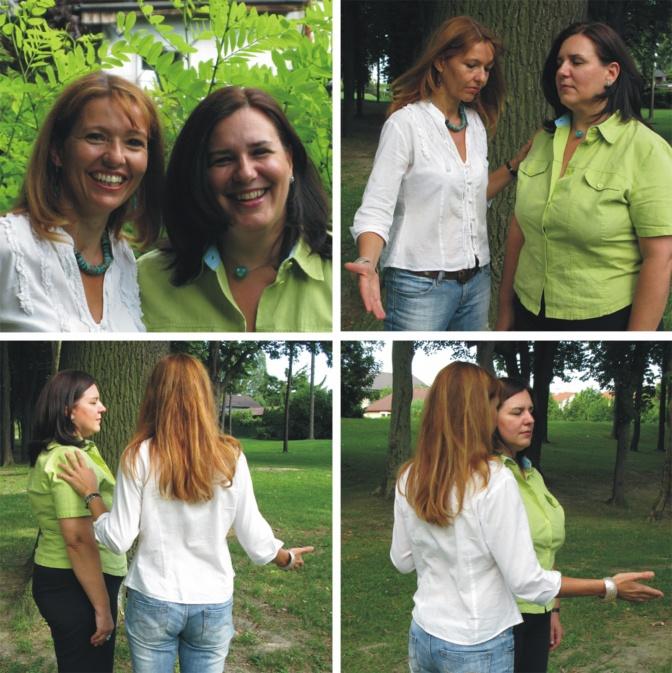 Renate Proske und Eva Buttazzoni machen Energetik Anwendungen