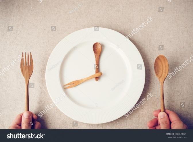 Teller mit angedeuteter Besteckuhr als Zeichen für intermittierendes Fasten
