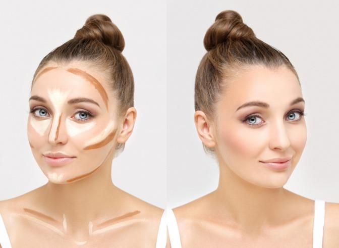 Im Gesicht einer Frau wurde die Contouring-Technik angewandt