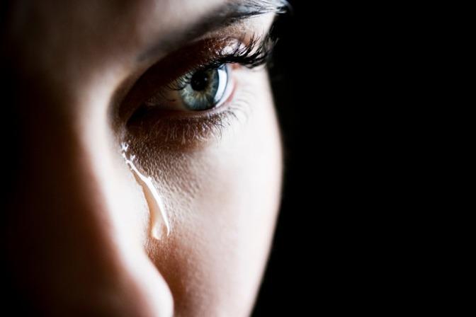 Das Gesicht einer weinenden Frau