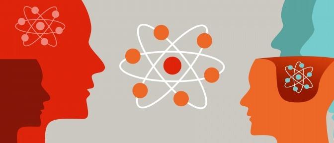 Eine Grafik mit einer Darstellung des menschlichen Gehirns, wie es auf der Basis atomarer Zusammenhänge funktioniert.