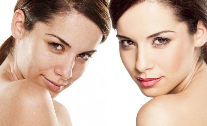 Eine Frau ist ungeschminkt und geschminkt zu sehen