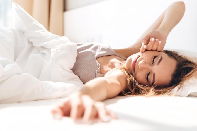Schlafende Frau in gutem Raumklima