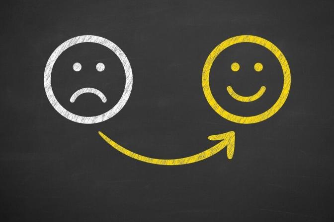 Aus einem unglücklichen Smiley wird ein glücklicher Smiley
