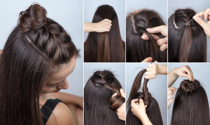 Auf verschiedenen Bilder ist eine Anleitung für eine halboffene Frisur zu sehen