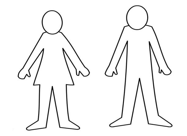 Ein gezeichneter Mann und eine gezeichnete Frau sind ohne Farbe