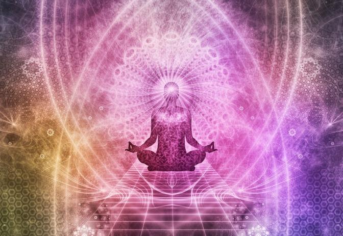 Eine Grafik zeigt jemanden bei einer Meditation