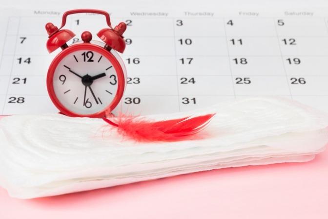 Ein Kalender mit Slipeinlage und roter Feder