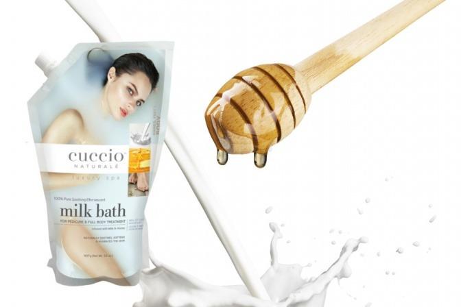 Ein Milchbad mit Honig von Cuccio ist auf einem Bild