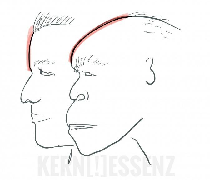 Das Profil eines Neandertalers ist im Vergleich zu einem Menschen der heutigen Zeit zu sehen