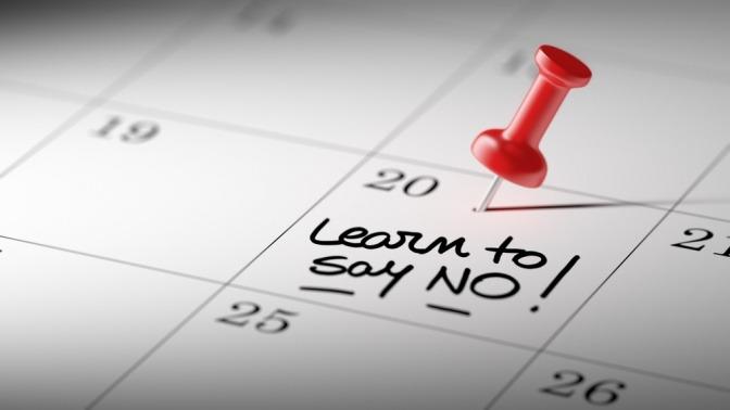 Ein Kalender mit der Aufschrift Time to say NO