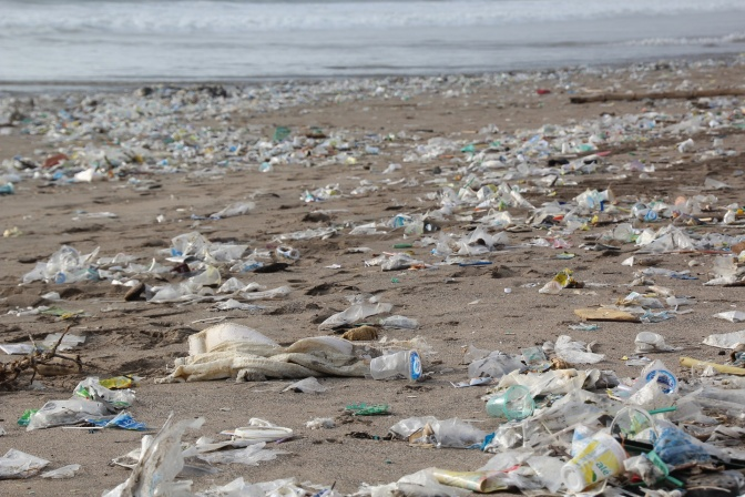 Plastikflaschen liegen als Müll angeschwemmt am Strand