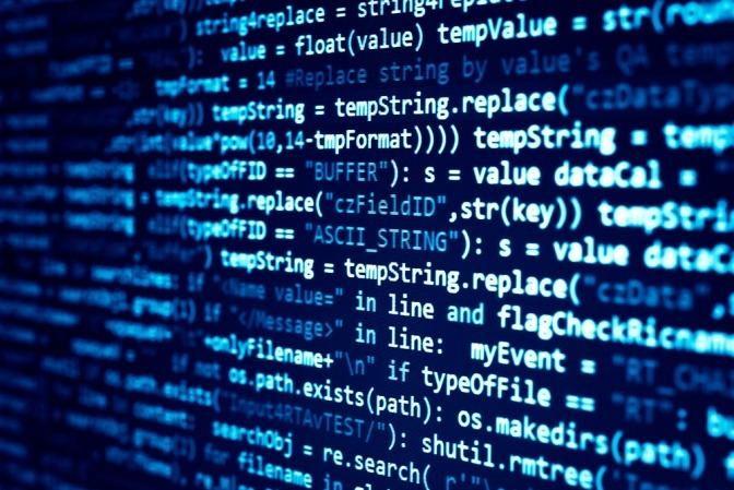 Die Programmiersprache eines Computers ist zu sehen