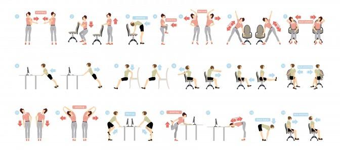 Eine Grafik zeigt, wie man im Büro mit Bewegung rückenfit wird