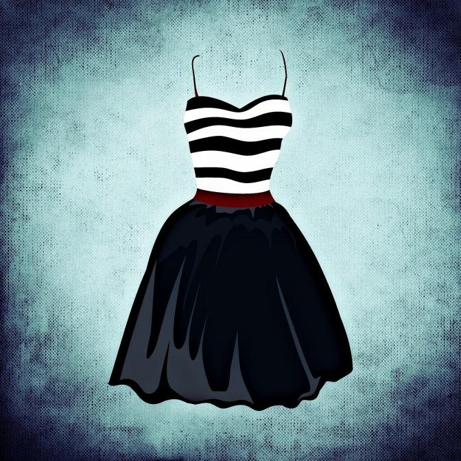 Grafik zeigt Kleid mit schlanker Taille