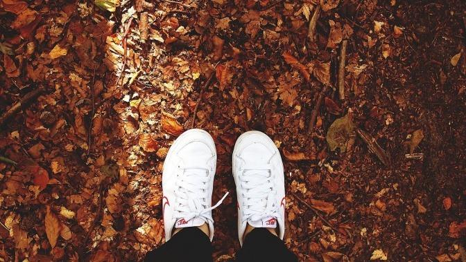 Sportschuhe im Herbst auf Blättern